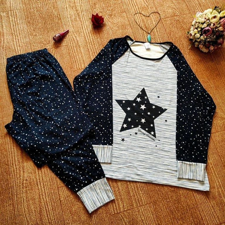 بلوز شلوار سکسن طرح ستاره- دخترانه