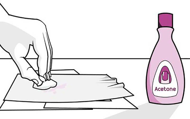 استفاده از استون برای پاک کردن لاک از روی لباس