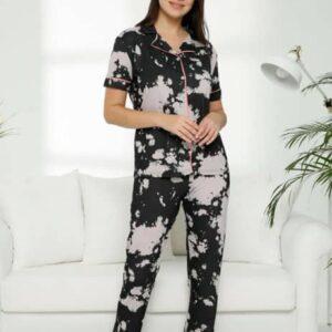 خرید ست تیشرت و شلوار زنانه ترک خانگی مشکی طوسی طرحدار دکمه ای
