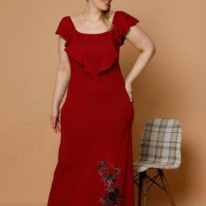 تونیک خانگی زنانه قرمز سایز بزرگ