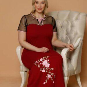 تونیک توری زنانه قرمز سایز بزرگ