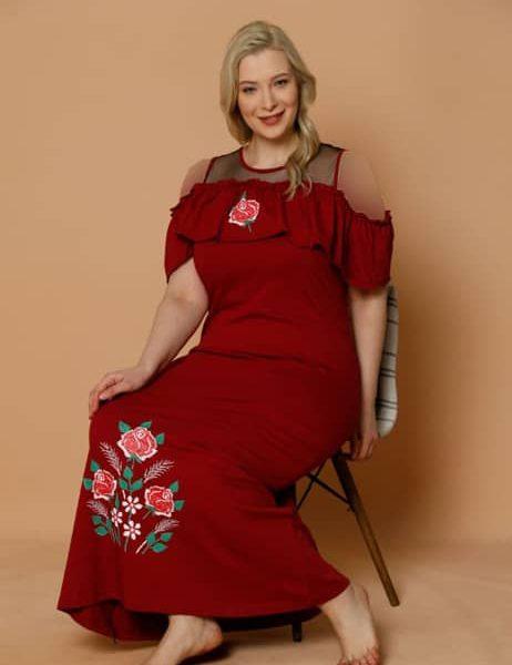 تونیک گلدار زنانه قرمز سایز بزرگ