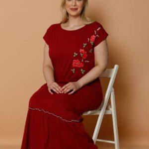 تونیک طرحدار زنانه قرمز سایز بزرگ