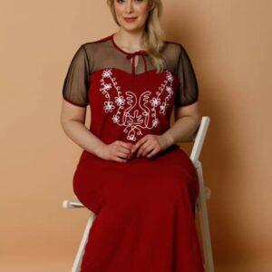 تونیک زنانه قرمز یکرنگ سایز بزرگ