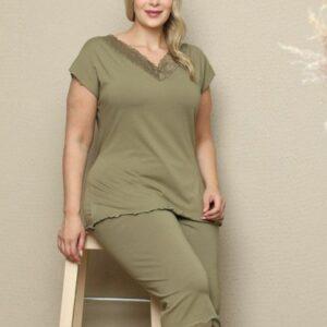 تیشرت و شلوارک زنانه سبز سایز بزرگ