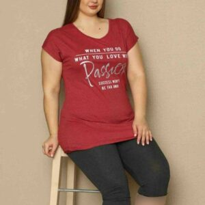 تیشرت و شلوارک زنانه قرمز سایز بزرگ