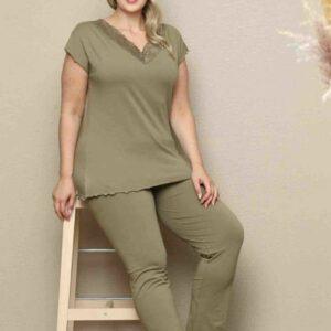 تیشرت و شلوار زنانه سبز سایز بزرگ