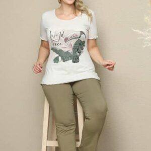 تیشرت و شلوار زنانه سفید سبز سایز بزرگ