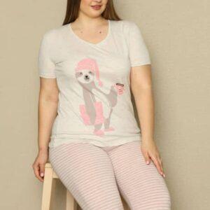 تیشرت و شلوارک زنانه سفید صورتی سایز بزرگ