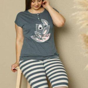 تیشرت و شلوارک زنانه آبی سایز بزرگ