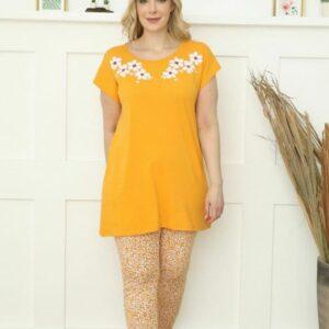 تیشرت بلند و شلوار زنانه زرد سایز بزرگ