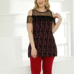 تیشرت بلند و شلوارک زنانه قرمز سایز بزرگ