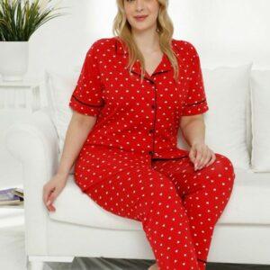 تیشرت و شلوار زنانه قرمز دکمه ای سایز بزرگ