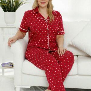 تیشرت و شلوار زنانه قرمز خالدار سایز بزرگ